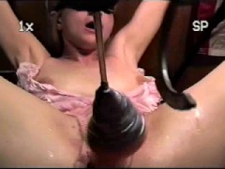 Trailer trash sub - tied to the bench - homemade drilldo torture slow speed